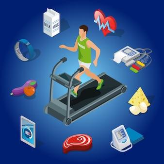 Concepto isométrico de estilo de vida saludable con el hombre corriendo en la cinta de correr, equipos de diagnóstico médico de alimentos orgánicos, dispositivos modernos aislados