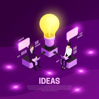 Concepto isométrico de estrategia empresarial con ilustración de violeta de símbolos de ideas