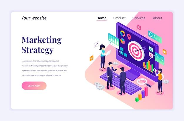 Concepto isométrico de estrategia de marketing. la gente de negocios trabaja con datos y gráficos.