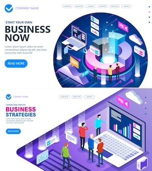 Concepto isométrico de estrategias comerciales del sitio y concepto de finanzas comerciales, gente de negocios trabajando juntos y desarrollando una estrategia comercial exitosa