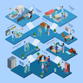 Concepto isométrico de la estructura del hospital