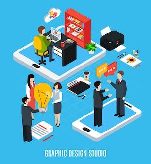Concepto isométrico con estudio de diseño gráfico, ilustrador o diseñador y herramientas para trabajar ilustración de vector aislado 3d