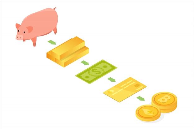Concepto isométrico de la evolución del dinero. del trueque a la criptomoneda. ilustración