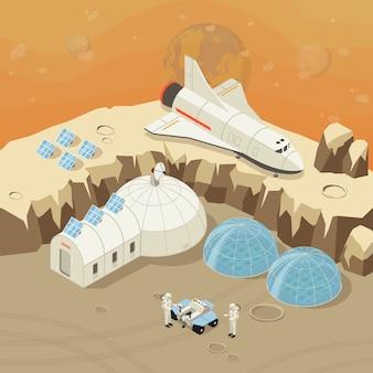 Concepto isométrico de exploración y colonización del planeta