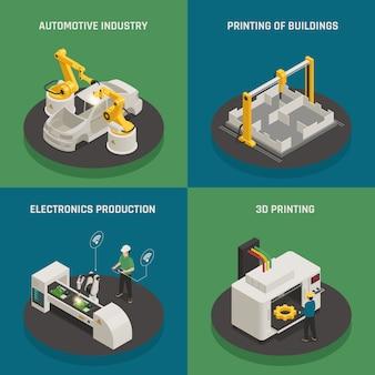 Concepto isométrico de fabricación inteligente