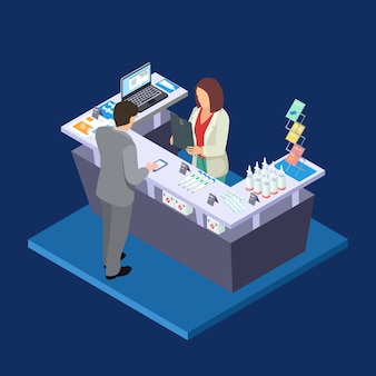 Concepto isométrico de farmacia con botiquín de primeros auxilios, pastillas, botellas