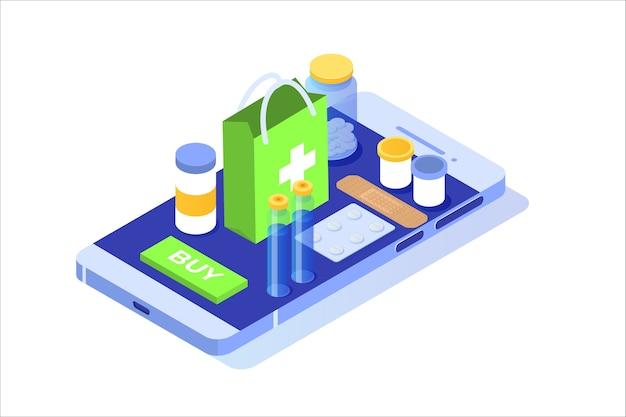 Concepto isométrico de farmacia en línea con botella de píldoras de medicina.