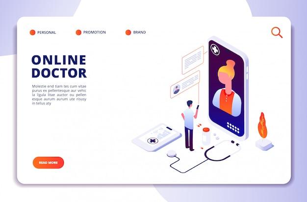 Concepto isométrico de farmacia en línea de salud. farmacia en internet. diagnóstico médico en el hospital. doctor página de inicio de vector en línea
