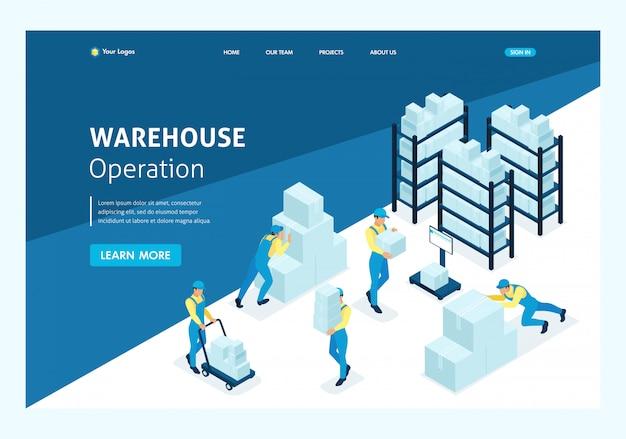Concepto isométrico de flujo de trabajo en una empresa industrial. página de inicio de plantilla de sitio web