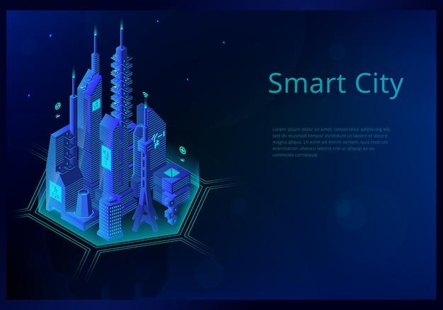 Concepto isométrico con futura ciudad inteligente.