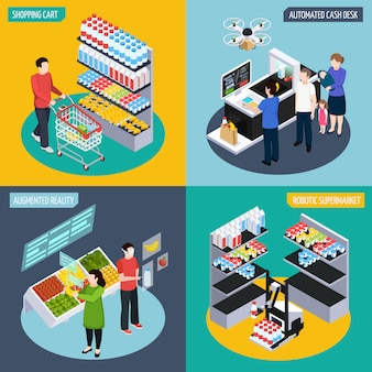 Concepto isométrico futuro super mercado