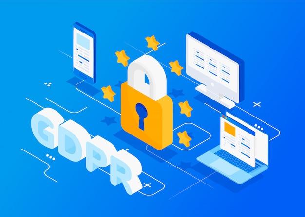 Concepto isométrico gdpr. protección de datos personales.