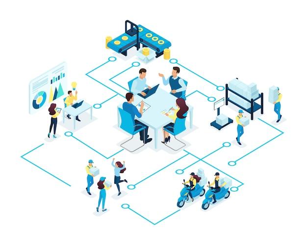Concepto isométrico de grandes empresas, sosteniendo. colaboración, reunión, gestión de producción. concepto para web
