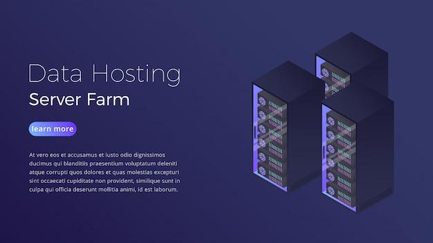 Concepto isométrico de la granja de servidores del centro de datos