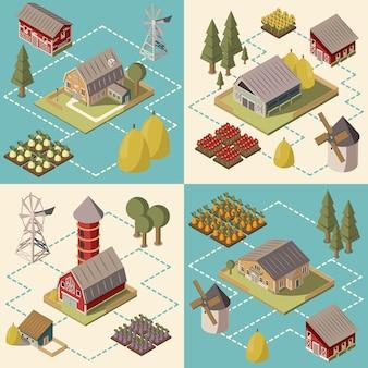 Concepto isométrico de la granja