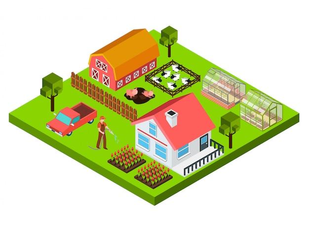 Concepto isométrico de granja