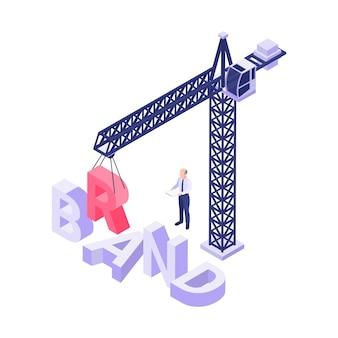 Concepto isométrico con grúa que construye la palabra marca ilustración 3d