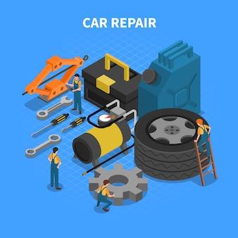 Concepto isométrico de herramientas de reparación de automóviles