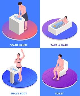 Concepto isométrico de higiene con baño y aseo aislado.