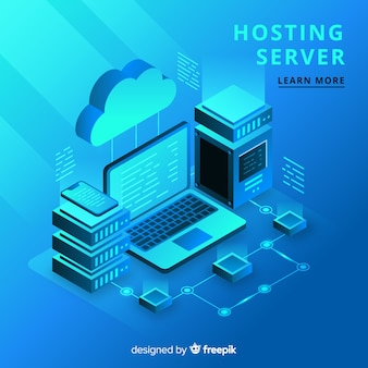Concepto isométrico de hosting