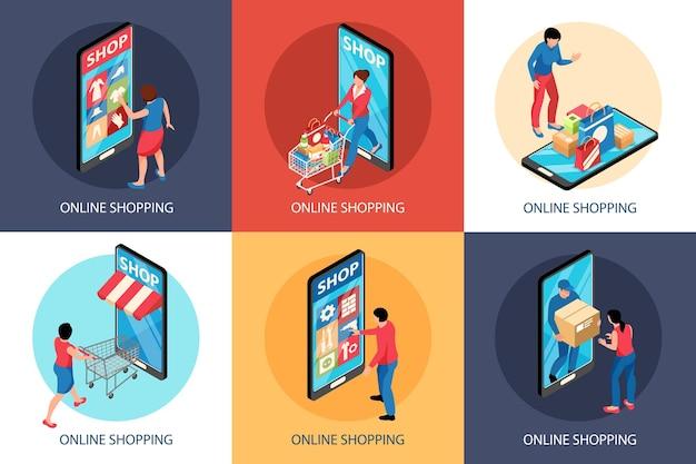 Concepto isométrico de ilustración de compras en línea con composiciones cuadradas de frentes de tiendas de teléfonos inteligentes y carros con personas