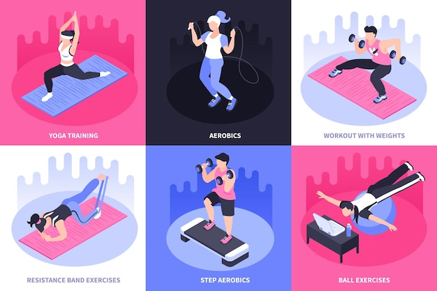 Concepto isométrico de ilustración de fitness en casa con seis composiciones cuadradas de leyendas de texto y personas que hacen ejercicios