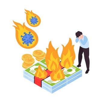 Concepto isométrico de impacto de covid19 de crisis financiera global con hombre frustrado y ahorros ardientes