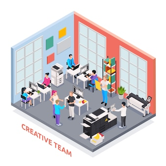 Concepto isométrico de imprenta con equipo creativo y símbolos de la industria de la prensa