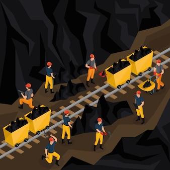 Concepto isométrico de la industria del carbón