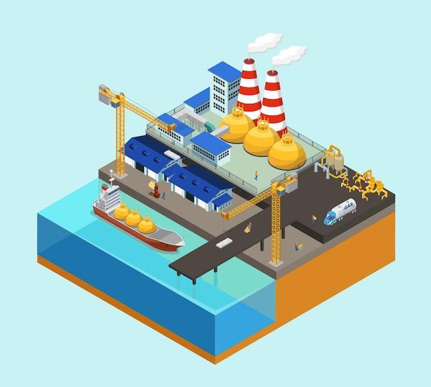 Concepto isométrico de la industria costa afuera de gas con grúas cisterna, trabajadores de almacenamiento, camiones, tuberías en plataforma estacionaria aislada