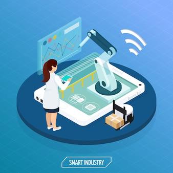 Concepto isométrico de la industria futurista