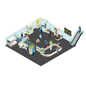 Concepto isométrico interior del aeropuerto