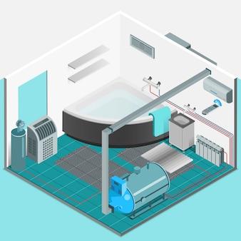 Concepto isométrico interior del sistema de enfriamiento de calefacción