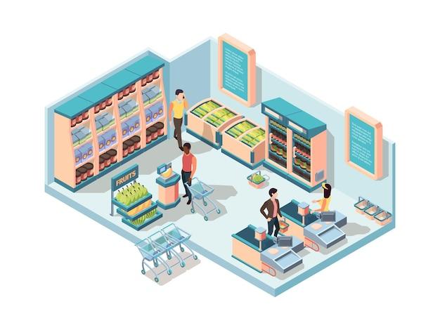 Concepto isométrico interior de supermercado.