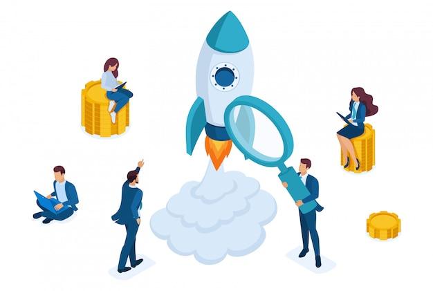 Concepto isométrico de invertir en startups, lanzamiento de cohetes, jóvenes emprendedores.