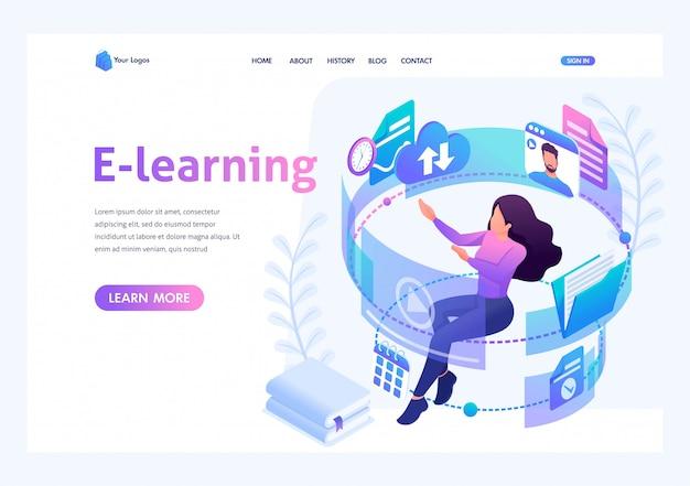 Concepto isométrico joven en el proceso de aprendizaje a través de internet, viendo videos educativos. página de inicio de plantilla para sitio web
