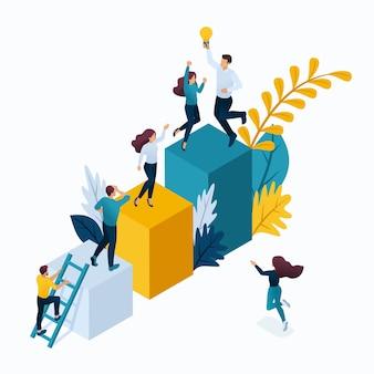 Concepto isométrico jóvenes empresarios en oficina, proyecto de inicio, negocio exitoso, escalera al éxito. conceptos modernos de ilustración para el sitio web