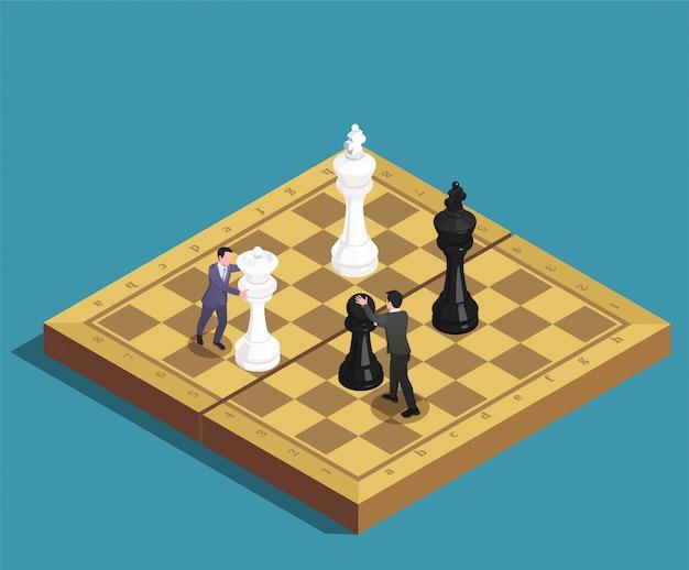 Concepto isométrico del juego de ajedrez