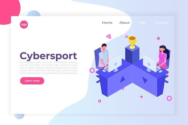 Concepto isométrico de juegos de computadora de competencia cybersport