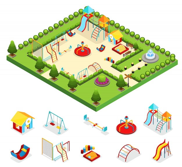 Concepto isométrico de juegos para niños con columpios, carruseles, toboganes, fuente, arbustos, árboles aislados