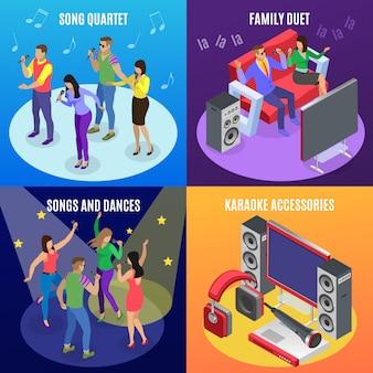 Concepto isométrico de karaoke 2x2 con iconos de estrellas focos e imágenes de personas en la fiesta de ktv