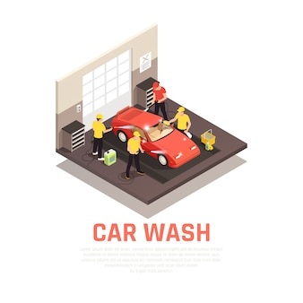 Concepto isométrico de lavado de autos con autoservicio y símbolos de lavado automático de autos