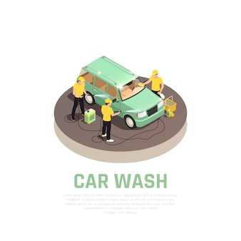 Concepto isométrico de lavado de autos con símbolos de servicio de lavado de autos