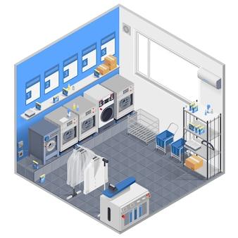 Concepto isométrico de lavandería