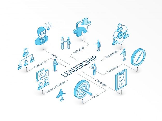 Concepto isométrico de liderazgo. sistema de infografía integrado. trabajo en equipo de personas. símbolo de visión, meta, orientación y estrategia. pictograma de dirección, trabajo en equipo, solución, comunicación