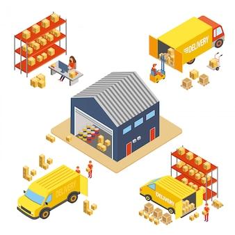 Concepto isométrico de logística y entrega con edificio de almacén, trabajadores con cajas de entrega y camiones de transporte de carga, ilustración vectorial