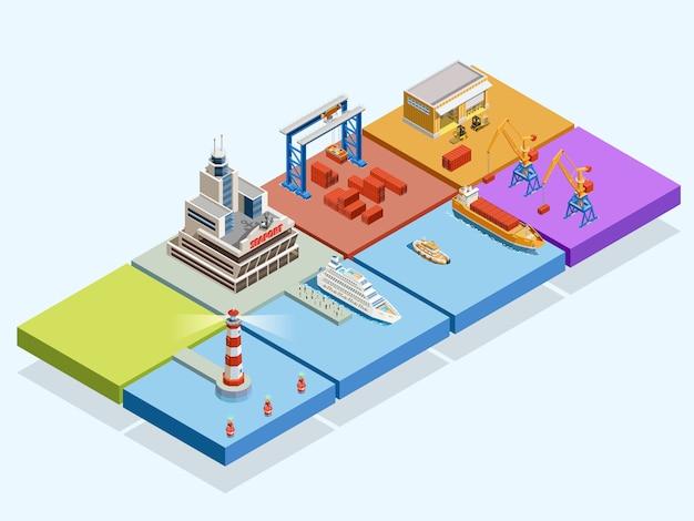 Concepto isométrico logístico marítimo