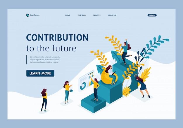 Concepto isométrico logro de la meta, ascender en la escala profesional, contribución de autoeducación al futuro. página de inicio de plantilla de sitio web