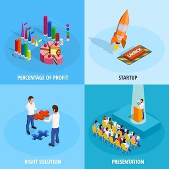 Concepto isométrico del logro de la meta de negocio