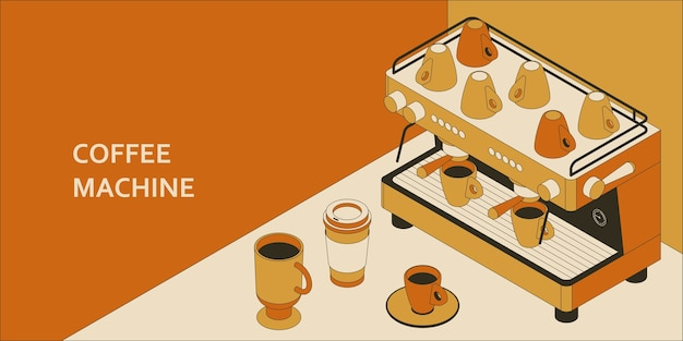 Concepto isométrico de la máquina de café con ilustración de diferentes tazas